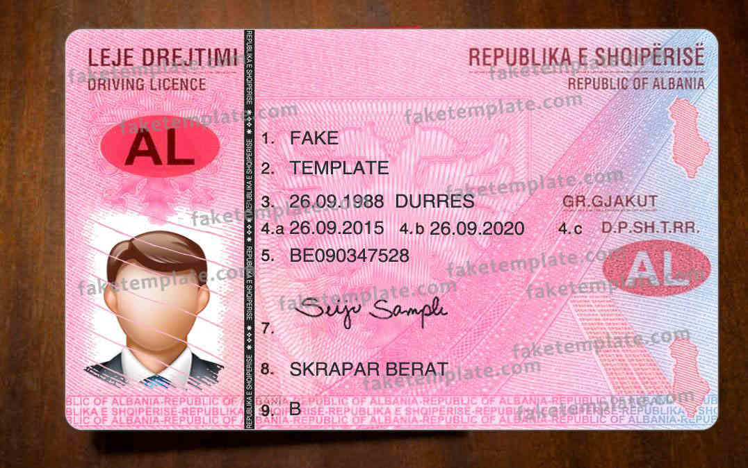 Albania Driver Licence Template