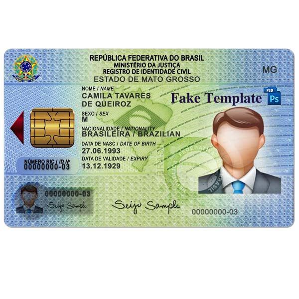 Brazil Id Card Template Psd High Quality Fake Template