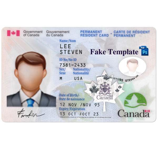 Canada Id Card Template Psd Fake Canada Id Card Fake Template