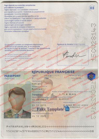 French Passport Template
