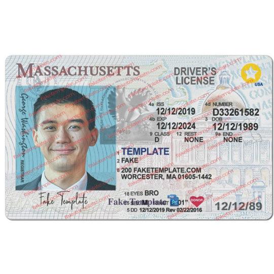 massachusetts driver license template