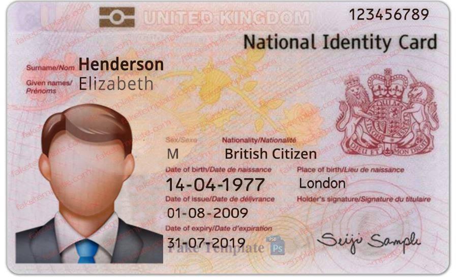 Uk Id Card Template Psd Fake Uk Id Card High Quality