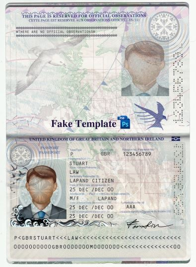 UK Passport Template Psd