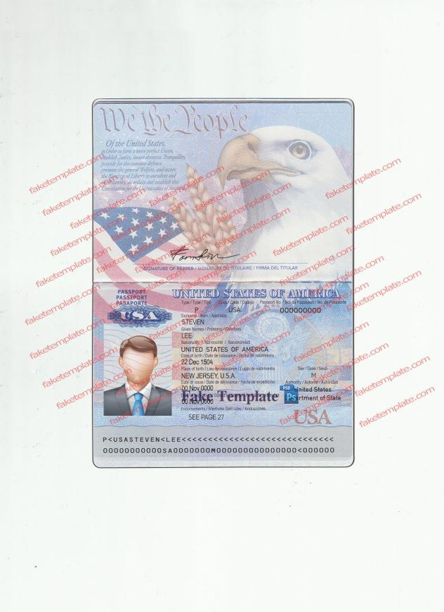 usa passport template psd v1 - high quality