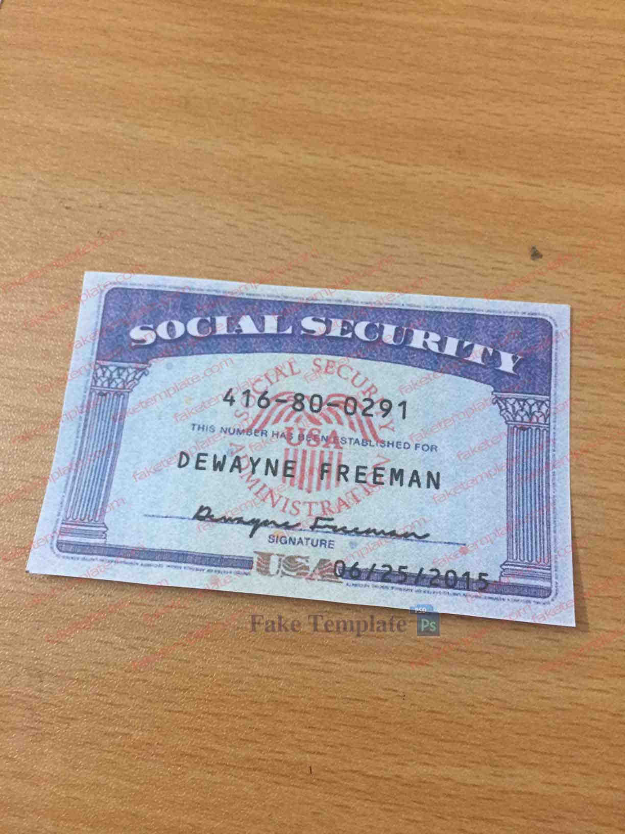 Social Security Number Template Custom Order - High Quality With Regard To Editable Social Security Card Template