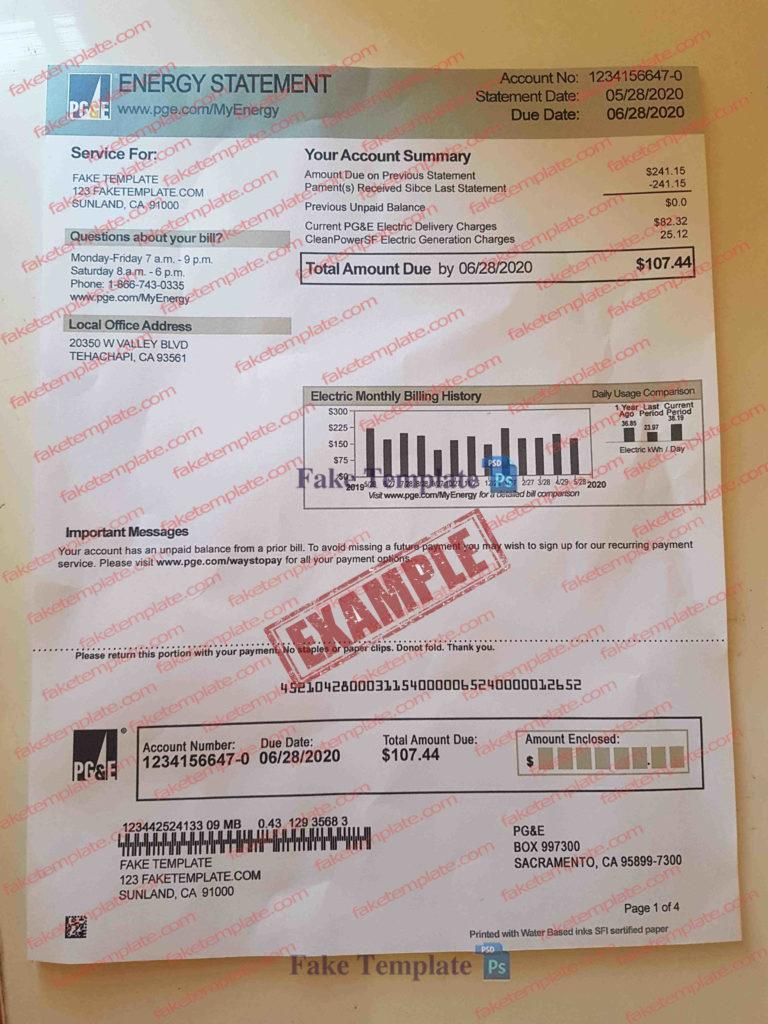 Utility bill Template Custom Order