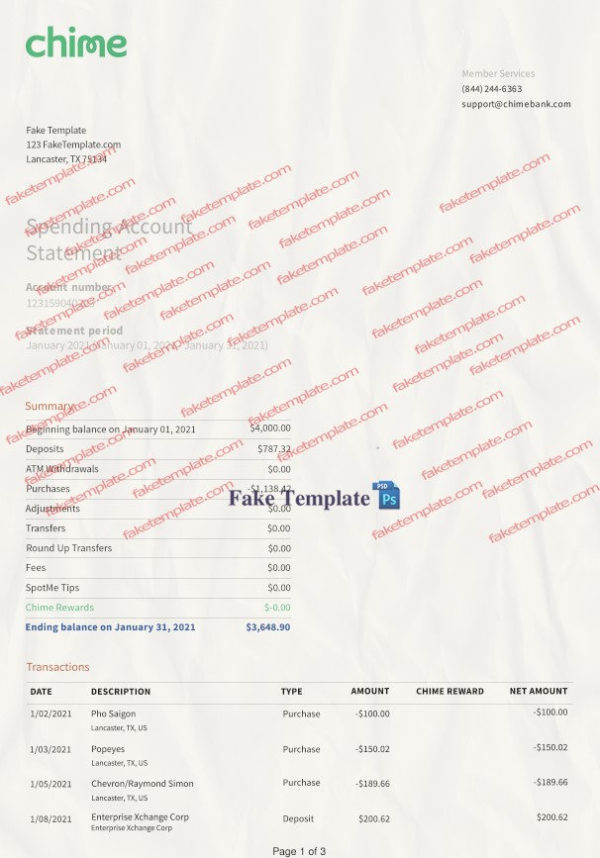 chime bank statement template