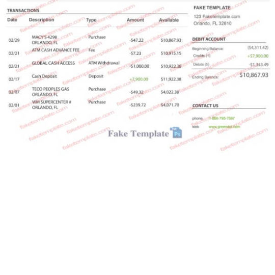 green dot bank statement pdf