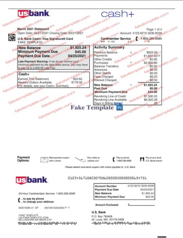 editable us bank statement template